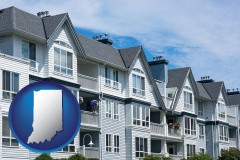 indiana map icon and a residential apartment building