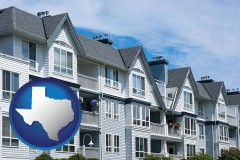 texas map icon and a residential apartment building