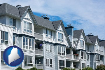 a residential apartment building - with Maine icon